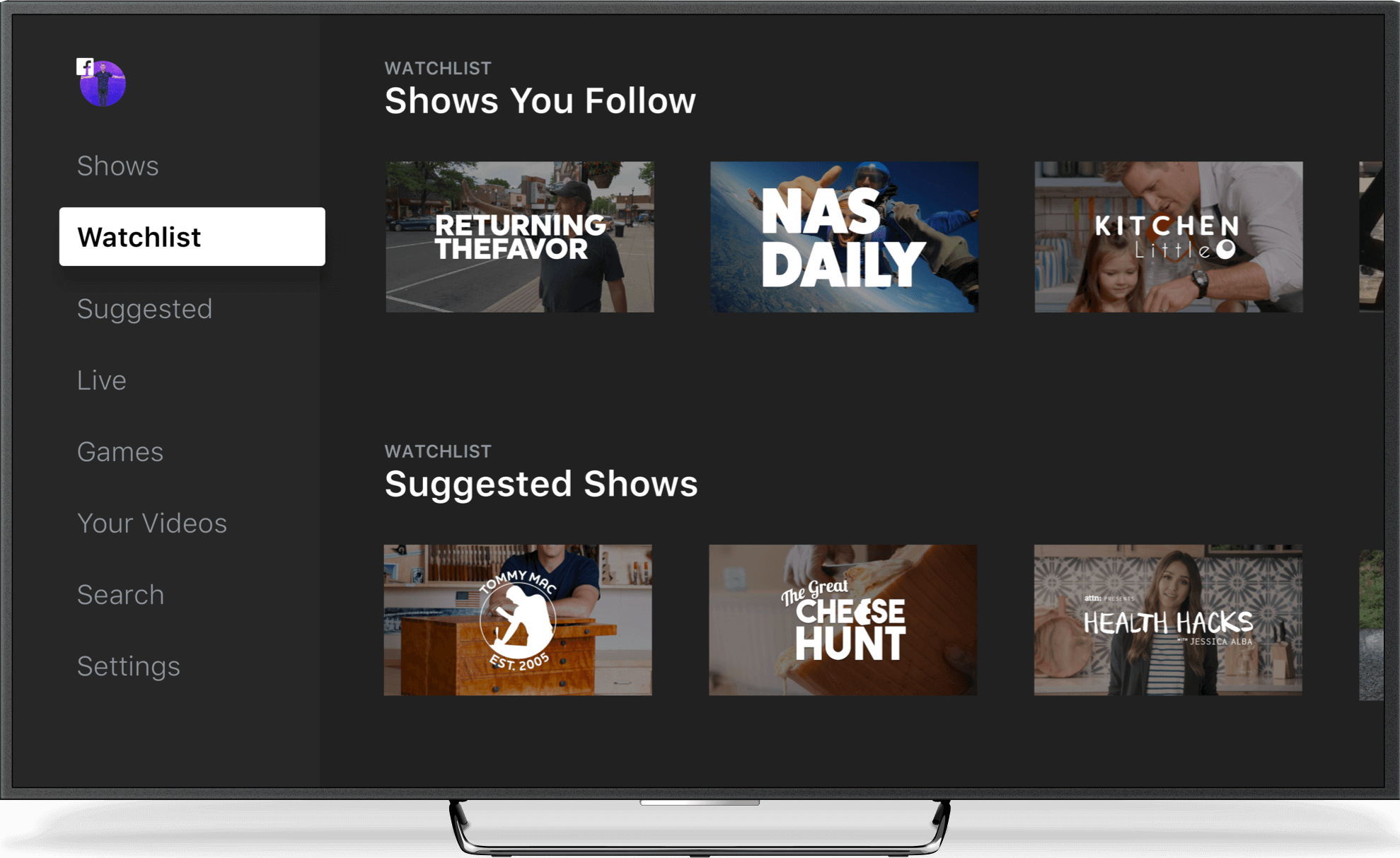 Facebook Watch Watchlist App