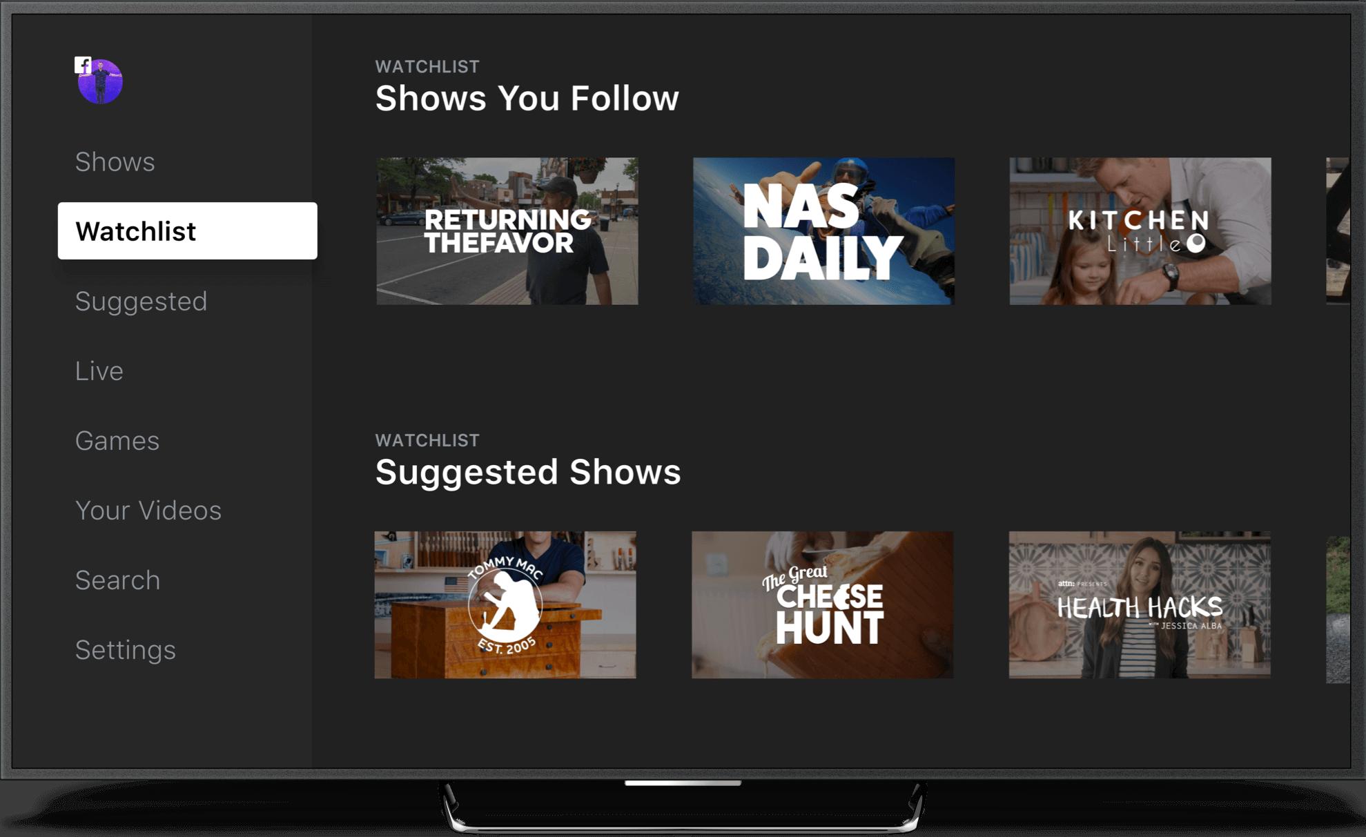 Facebook Watch Watchlist App